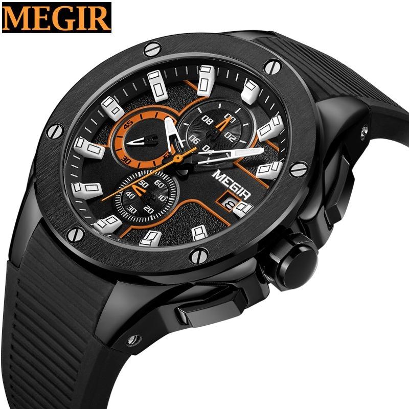 841973d7bc90 reloj para hombre megir original negro cronografo m2053g. Cargando zoom.