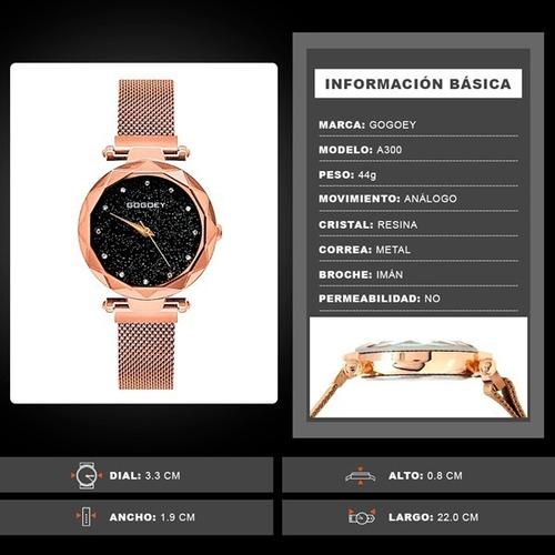 reloj para mujer broche imán corte diamante extensible metal