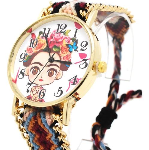 reloj para mujer frida kahlo análogo correa tela multicolor