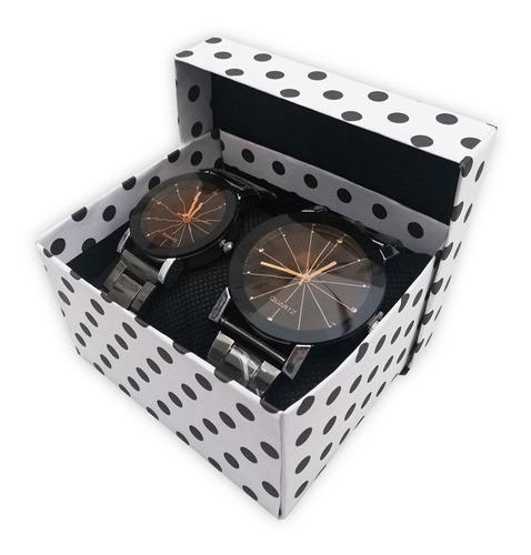 reloj para parejas / novios + caja de regalo - set x 2