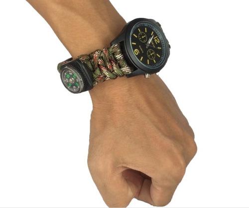 reloj paracord, brujula, pedernal, silbato, sobrevivencia