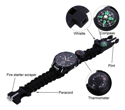 reloj paracord, brujula, pedernal, silbato, sobrevivencia,