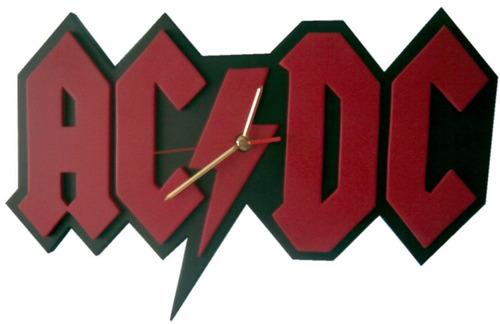 reloj pared acdc rock en madera