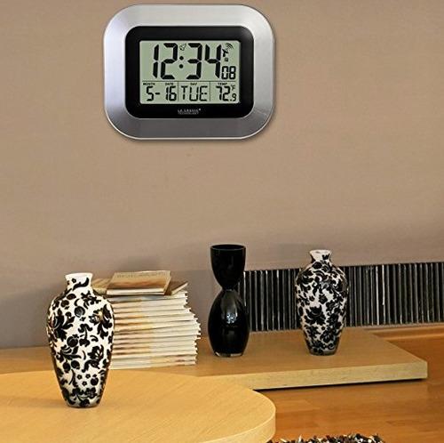 reloj pared atómico la crosse termómetro alarma wt-8005u-s