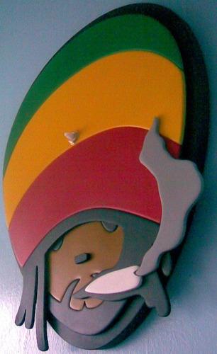 reloj pared bob marley rastafary rege en madera
