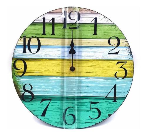 reloj pared cuarzo moderno vintage madera importado 12pulgad