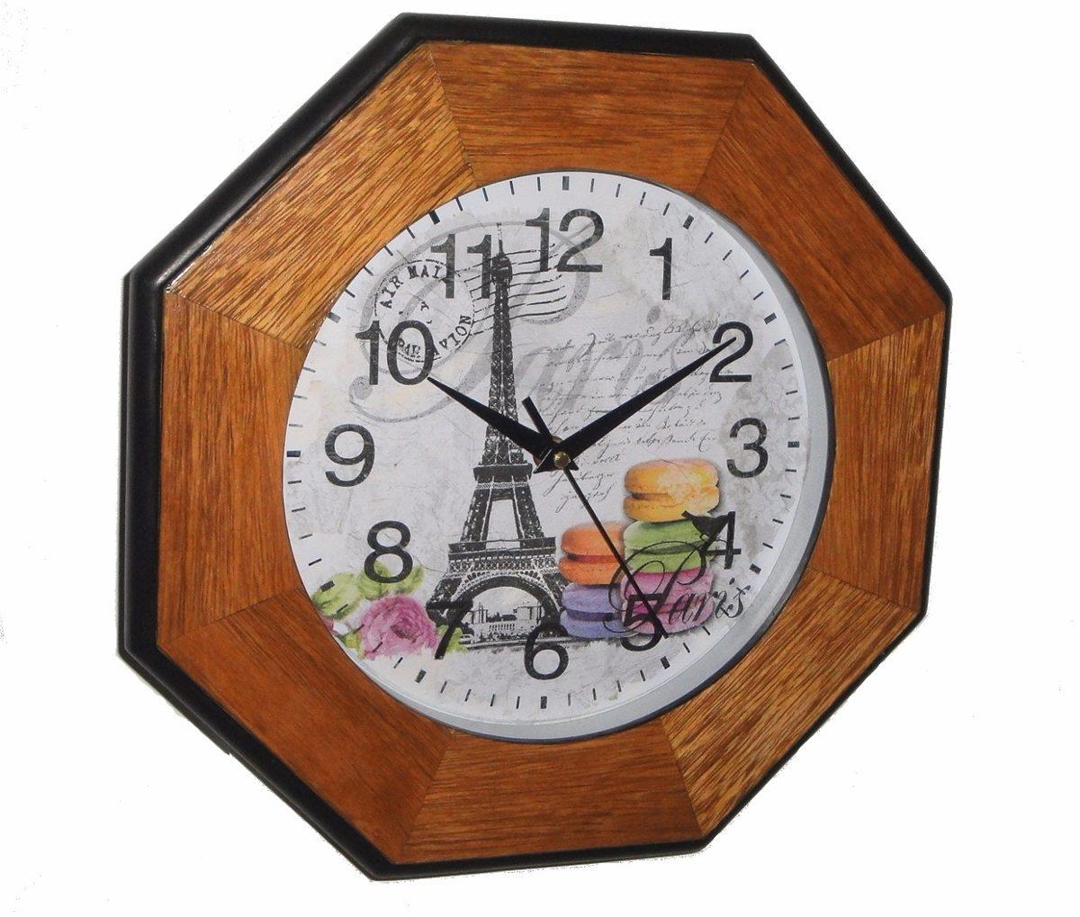Reloj Pared De Madera Estilo Vintage 35 Cm Vidrio Frontal 489  ~ Relojes Grandes De Pared Vintage