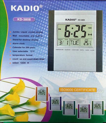 reloj pared digital kadio termometro timer alarma calendario