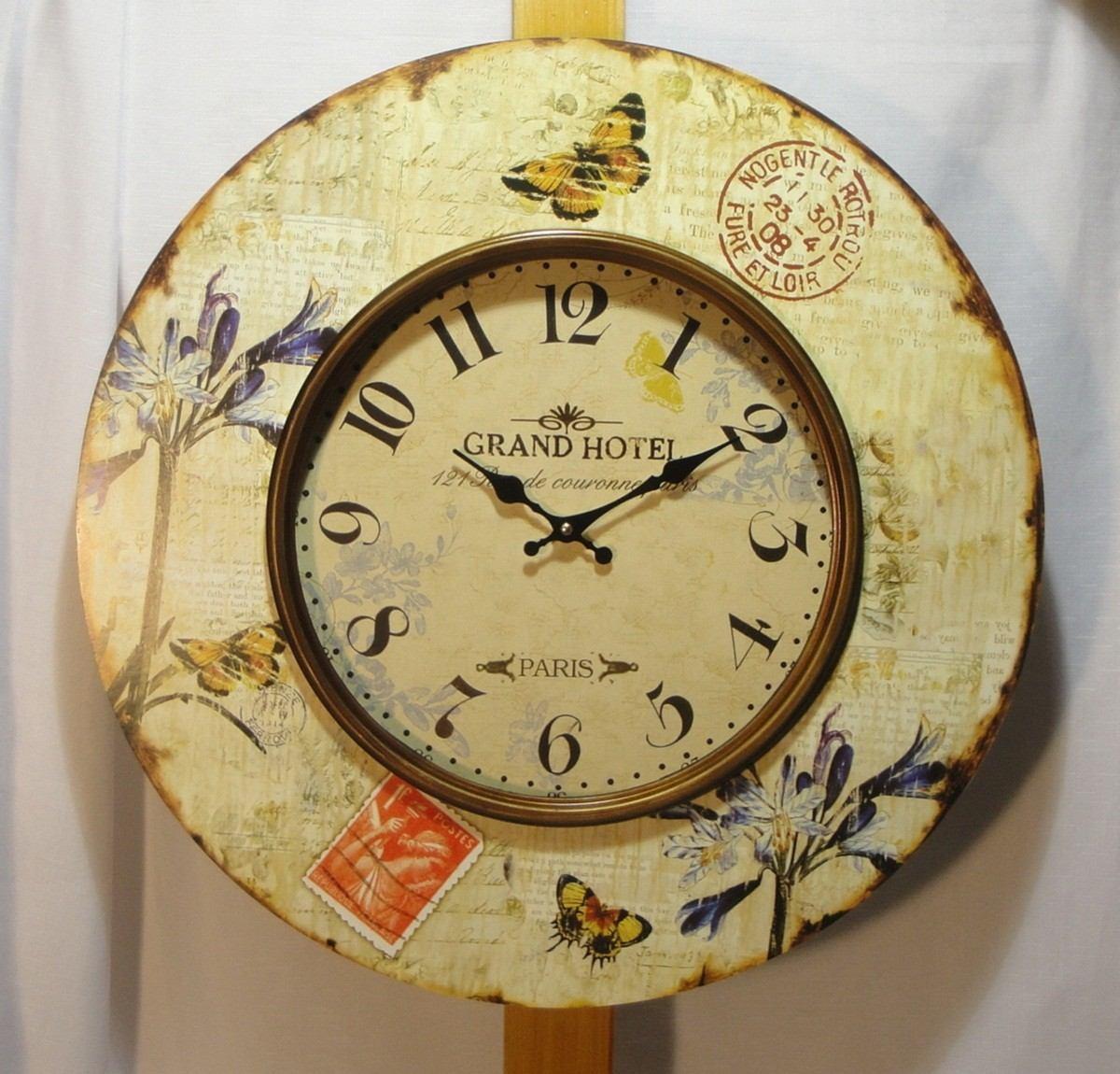 Reloj Pared Estilo Vintage 59 Cm Cuadrante C Vidrio Frontal  ~ Relojes Grandes De Pared Vintage
