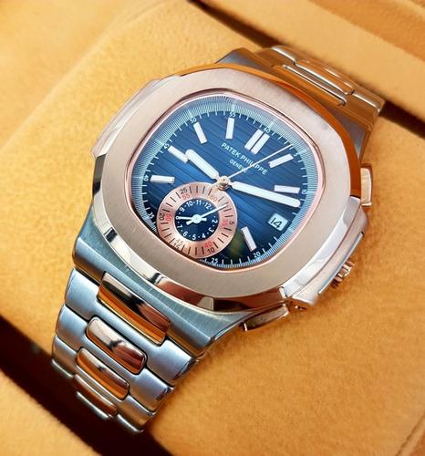 reloj patek philippe nautilus acero oro cara azul oscuro aut