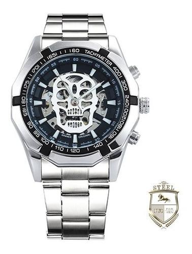 reloj plata calavera + pulsera plata skull skeleton hombre