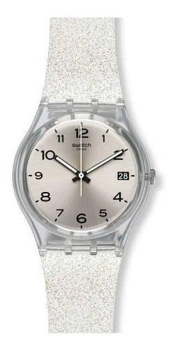 reloj plateado silverblush glitter swatch gm416c