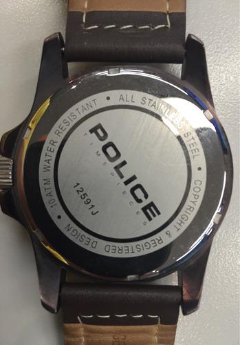reloj police caballero piel café diseño italiano remate!