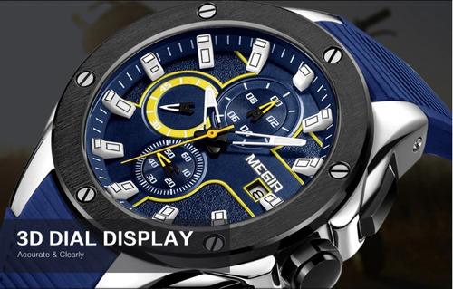 reloj premium megir remaches cronografo calendario hombre