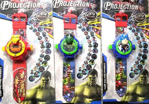 reloj proyector avengers y otros personajes niños infantil