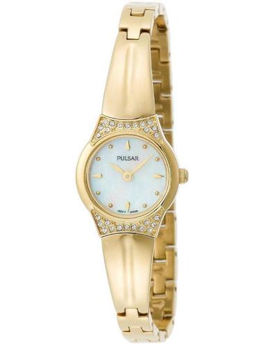 reloj pulsar crystal acero dorado hardlex mujer pta382