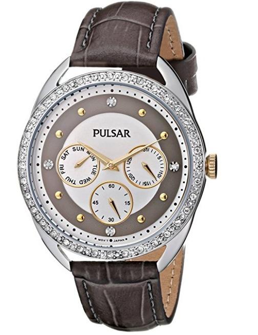 f491e878e6 Reloj Pulsar Swarovski Crystal Acero Piel Café Mujer Pp6181 ...