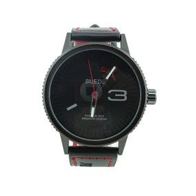 da17f8d7af6e Reloj En Piel Negro Con Rojo Moda Juvenil Hombre 36
