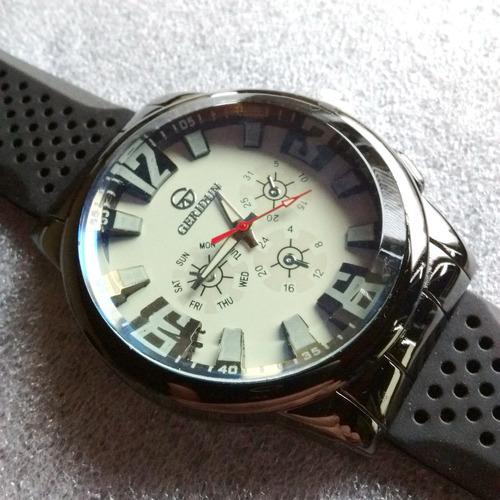 reloj pulsera analógico negro geridun malla goma nuevo