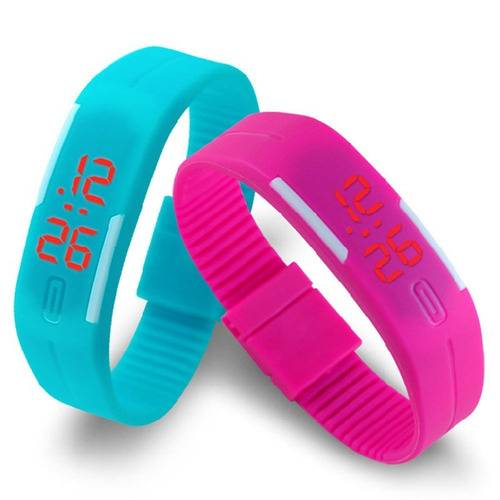 reloj pulsera con boton silicon de colores