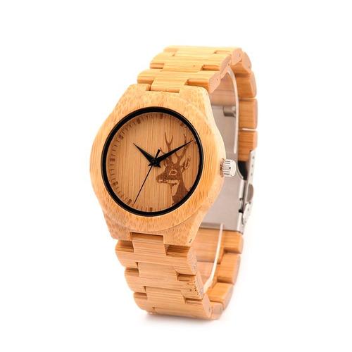 reloj pulsera de madera de bambu, nuevos, caja, genuinos