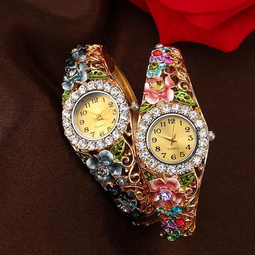 reloj pulsera de mujeresde cuarzo de flores de cristal