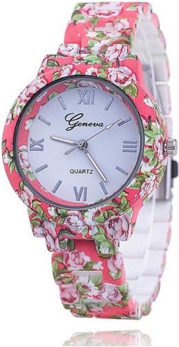 reloj pulsera geneva malla floreada + caja de regalo