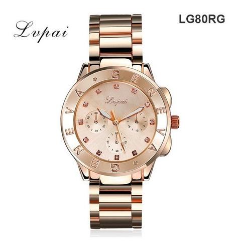 reloj pulsera geneva mujer brillantes acero rosa, oro, plata