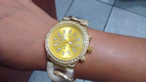 reloj pulsera geneva mujer cadena con brillantes