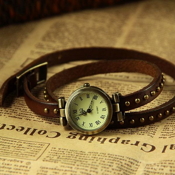 Oscuro Cuero Mujer Malla Reloj Jq De Pulsera Marrón Para POZkXiu