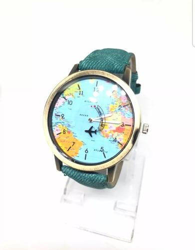 reloj pulsera mapamundi avión gira