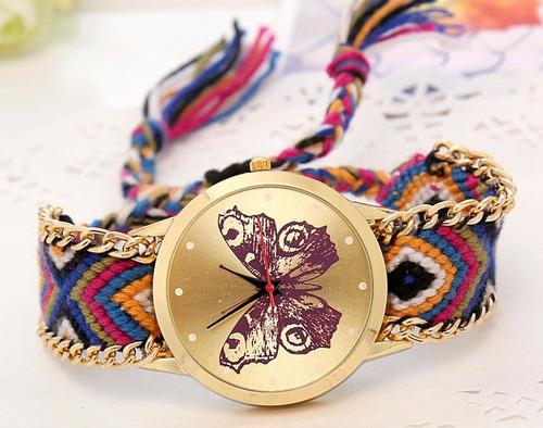 reloj pulsera mariposa correa trenzada