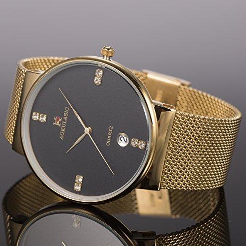 5714f70aaaea Reloj Pulsera Oro Hombres Malla Acero Inoxidable Banda Si