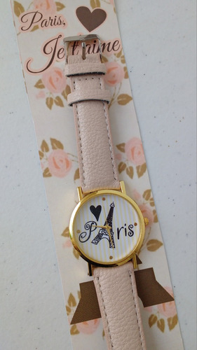 reloj pulsera paris moda regalo creativo torre eiffel beige
