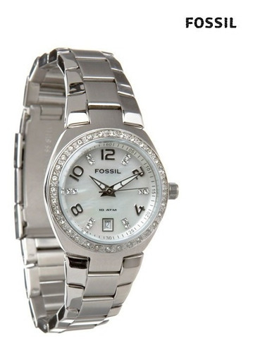 reloj pulso fossil am4141 dama cuarzo acero inoxidable plata