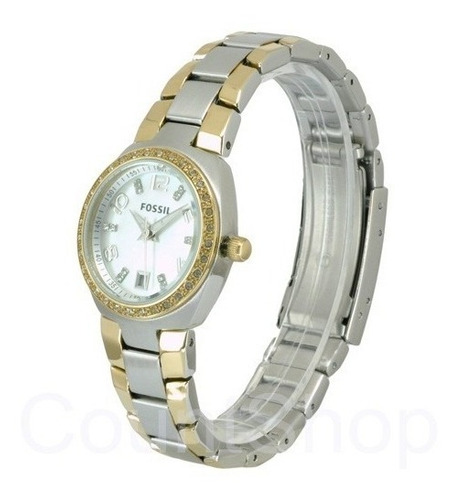 reloj pulso fossil am4183 dama cuarzo acero inoxidable plata
