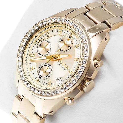 reloj pulso fossil es2683 dama acero cuarzo cristal mineral