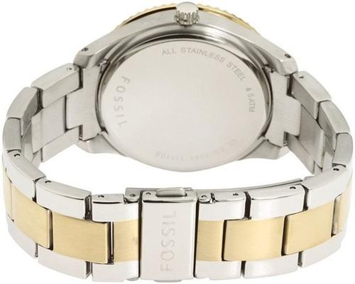 reloj pulso fossil es2944 dama acero cuarzo cristal bicolor