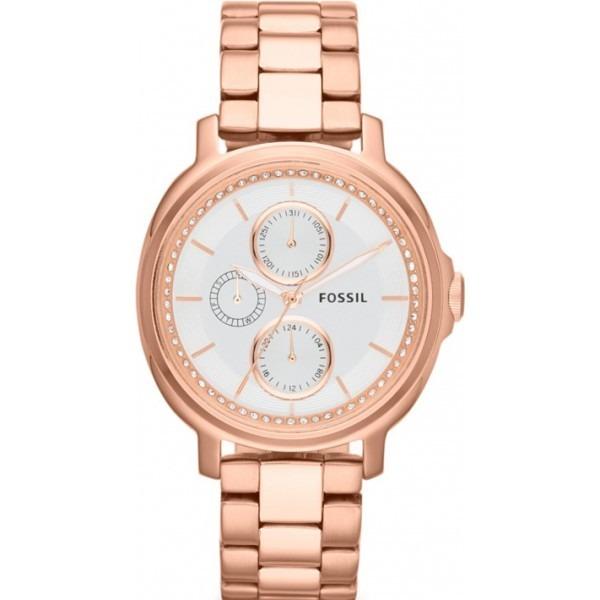 reloj pulso fossil es3353 dama cronógrafo oro rosa acero