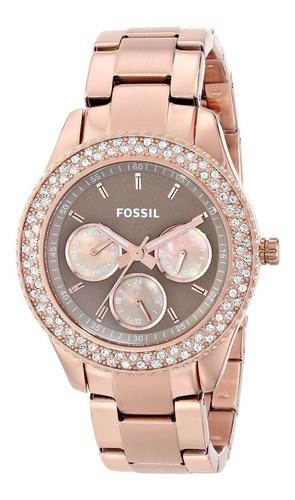 reloj pulso fossil es3502 dama cronógrafo cuarzo acero inox