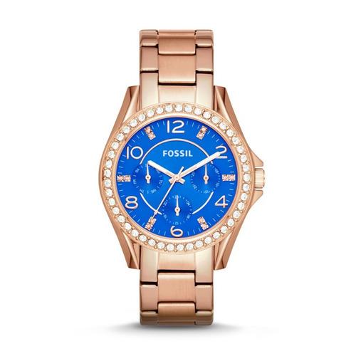 reloj pulso fossil es3569 dama cuarzo acero inoxidable azul