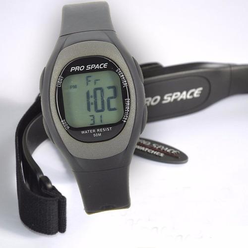 reloj pulsometro pro space monitor cardiaco 50m wr luz