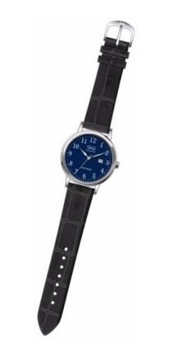 reloj q&q  bl62j315y malla cuero metalico fechador