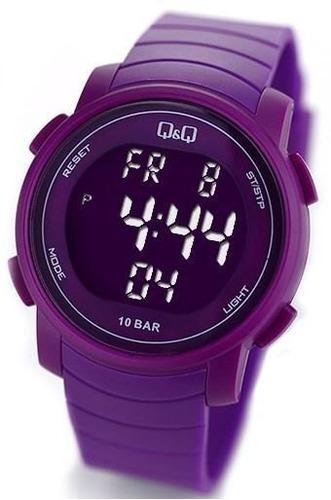 reloj q&q c/luz, cronómetro, alarma y calendario model j004y