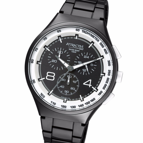 reloj q&q da86j005y cronografo black 10 bar taquimetro