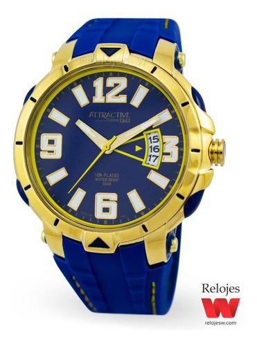 reloj q&q hombre dg16j105y azul dorado