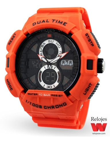 reloj q&q hombre gw81j005y naranja negro