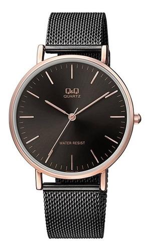 reloj q&q hombre qa20j422y negro oro rosa
