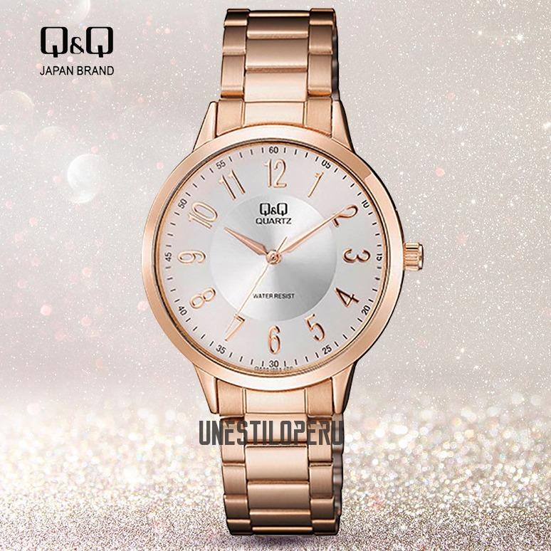 9e4ade566fd9 Reloj Q q Mujer Acero Oro Rosa Casual Pulsera Original Q Q - S  89 ...