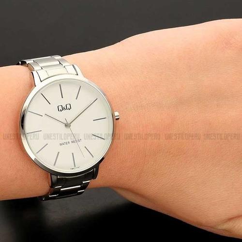 reloj q&q mujer casual pulsera malla acero plateado